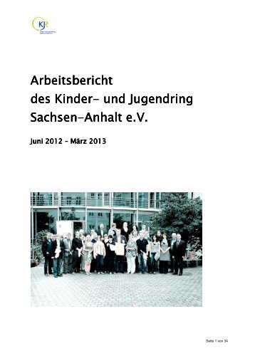 Jahresbericht 2012/13 - Kinder- und Jugendring Sachsen-Anhalt e.V.