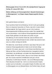 Vortrag Regine Aeppli - CARITAS - Schweiz