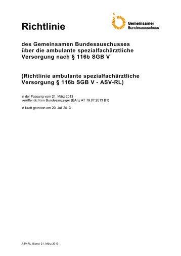 Richtlinie ambulante spezialfachärztliche Versorgung § 116b SGB V