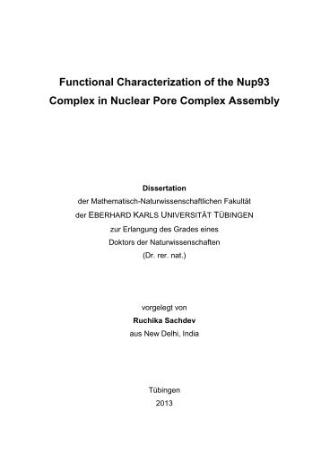 Functional Characterization of the Nup93 Complex in ... - TOBIAS-lib