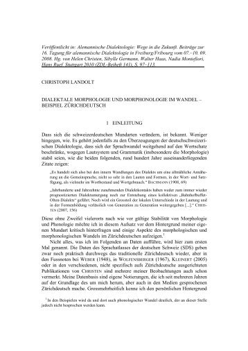 Dialektale Morphologie und Morphonologie im Wandel