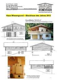 Haus Wiesengrund – Blockhaus des Jahres 2012 - Blockhaus Barth