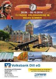 Ostkanada vom 28.09. - 08.10.2014 - Volksbank Dill eG