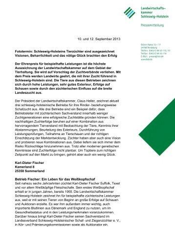 10. und 12. September 2013 Betrieb Fischer: Ein Leben für das ...