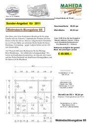 Sonder-Angebot für 2011 Walmdach-Bungalow 85 - Blockhaus Barth