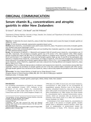 Serum vitamin B12 concentrations and atrophic gast... - ResearchGate
