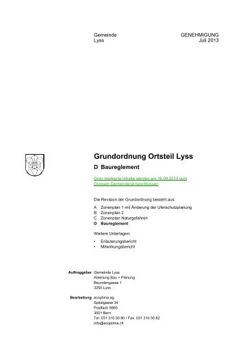 Grundordnung Ortsteil Lyss - Gemeinde Lyss