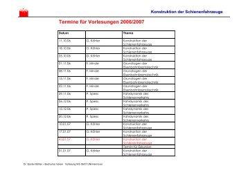 Termine für Vorlesungen 2006/2007 - IDS