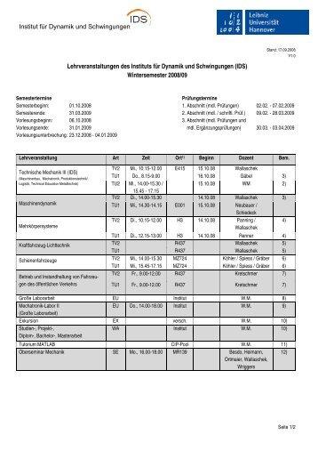 Institut für Dynamik und Schwingungen Lehrveranstaltungen ... - IDS
