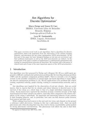 Ant Algorithms for Discrete Optimization - Idsia