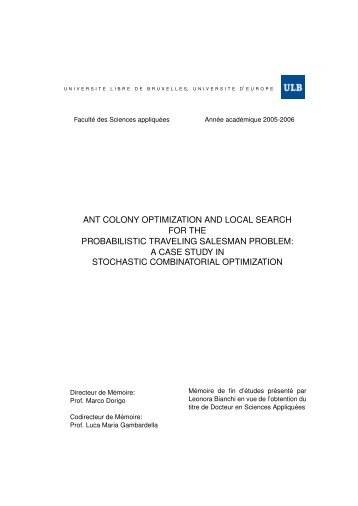 ant colony optimization and local search for the probabilistic - Idsia