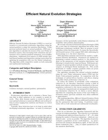 Efficient Natural Evolution Strategies - Idsia