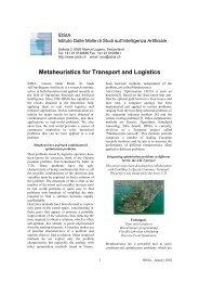 Metaheuristics for Transport and Logistics - AntOptima