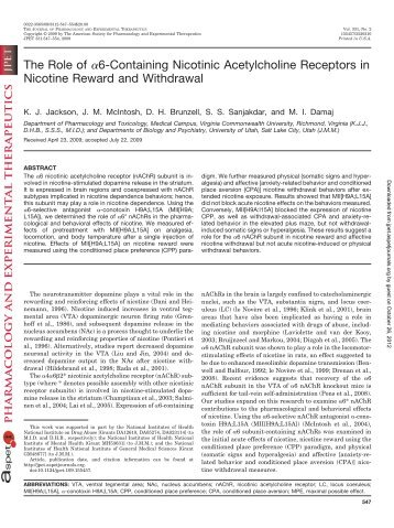 The Role of  α6-Containing Nicotinic Acetylcholine Receptors in ...