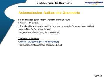 axiomatischer Aufbau der Geometrie