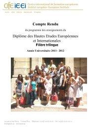 Compte rendu, année universitaire 2011-2012 - IE·EI