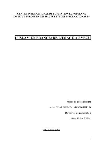 L'ISLAM EN FRANCE: DE L'IMAGE AU VECU - IE·EI