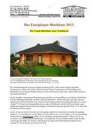 Das Energiespar-Blockhaus 2012: - Blockhaus Barth