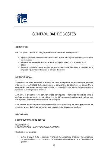 CONTABILIDAD DE COSTES - IE