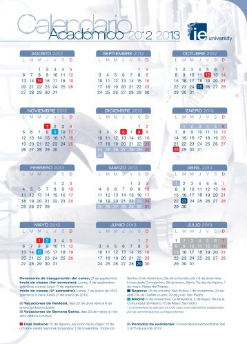 View the Academic Calendar for 2012-2013