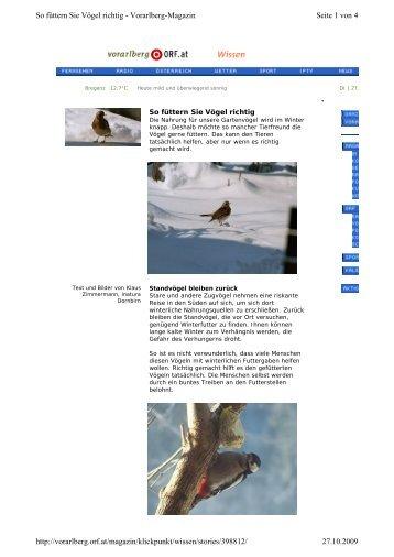 Seite 1 von 4 So füttern Sie Vögel richtig - Vorarlberg-Magazin 27.10 ...