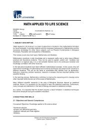 MATH APPLIED TO LIFE SCIENCE