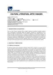 CULTURA, LITERATURA, ARTE E IMAGEN - IE