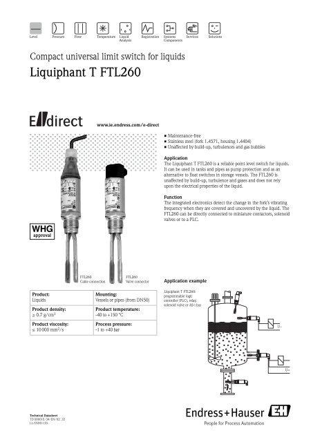 TD Liquiphant T FTL260 (PDF 354,0 kB) - Endress+Hauser Ireland