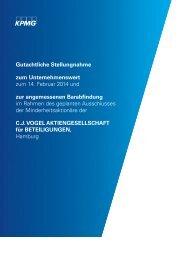 Gutachtliche Stellungnahme zum Unternehmenswert - CJ VOGEL ...