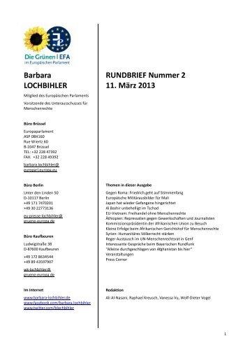 Barbara LOCHBIHLER RUNDBRIEF Nummer 2 11. März 2013