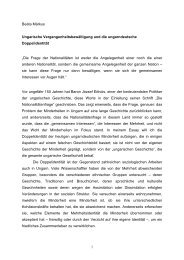 Ungarische Vergangenheitsbewältigung und die ungarndeutsche ...