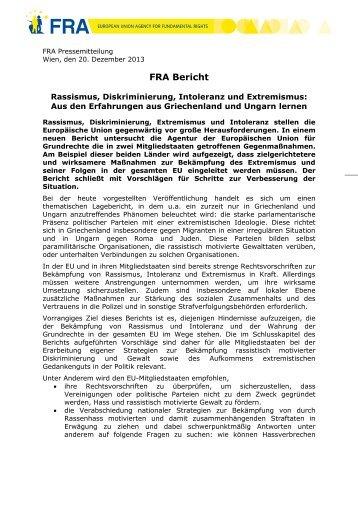 FRA Bericht - European Union Agency for Fundamental Rights