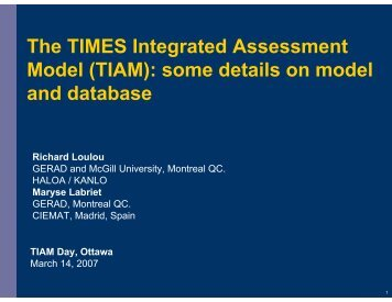 some details on model and database - iea-etsap