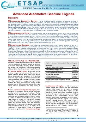 Advanced Automotive Gasoline Engines - iea-etsap