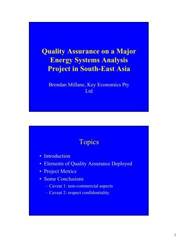 Quality assurance experiences on a major energy ... - iea-etsap