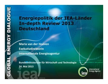 Energiepolitik der IEA-Länder In-depth Review 2013 Deutschland