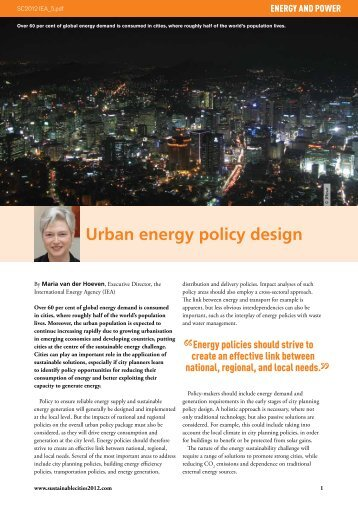 Urban energy policy design - IEA
