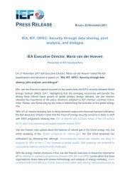 IEF Presss release - IEA