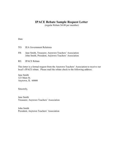 ipace rebate sample letter