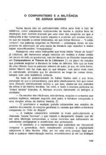 O comparatismo e a semelhança de Adrian Marino - Universidade ...