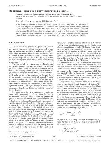 Resonance cones in a dusty magnetized plasma - Institut für ...