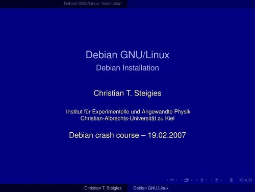 Debian GNU/Linux - Institut für Experimentelle und Angewandte ...