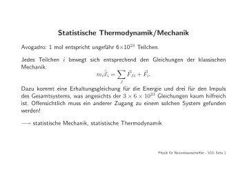 Statistische Thermodynamik/Mechanik