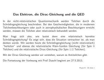 Das Elektron, die Dirac-Gleichung und die QED