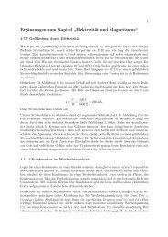 """Ergänzungen zum Kapitel """" Elektrizität und Magnetismus"""""""