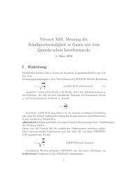 Versuch M01: Messung der Schallgeschwindigkeit in Gasen mit ...