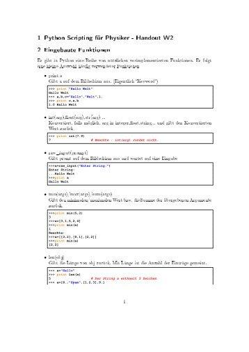 1 Python Scripting für Physiker - Handout W2 2 Eingebaute ...