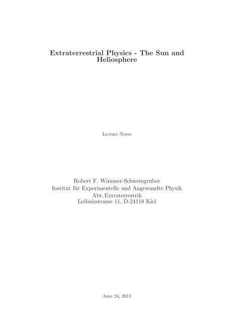 Extraterrestrial Physics - The Sun and Heliosphere - Institut für ...