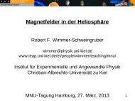 Magnetfelder in der Heliosphäre - Institut für Experimentelle und ...