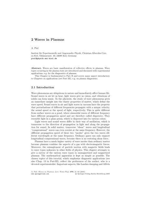 2 Waves in Plasmas - Institut für Experimentelle und Angewandte ...